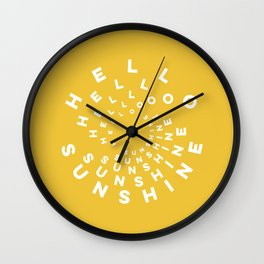 Hello Sunshine #minimal #typography #summervibes Wall Clock