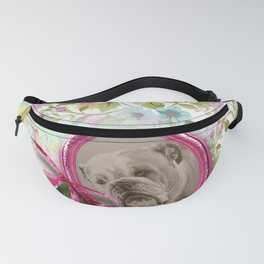 Vintage style Bulldog in the garden Fanny Pack