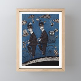 Two Men Travelling Framed Mini Art Print