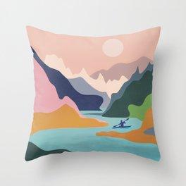 River Canyon Kayaking Throw Pillow