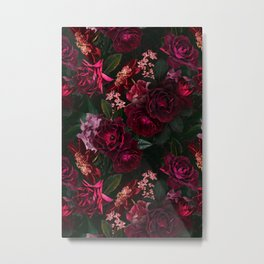 Vintage & Shabby Chic - Night Botanical Flower Roses Garden Metal Print