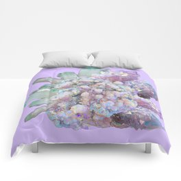 GLITTERING GREEN & PURPLE QUARTZ CRYSTALS ART Comforters