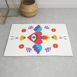 Sacred Heart Evil Eye Mexican Otomi Embroidery Folk Art Floral Rug