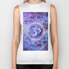 Om Mandala Purple Lavender Blue Galaxy Biker Tank