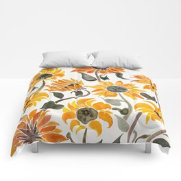 Sunflower Watercolor – Yellow & Black Palette Comforters