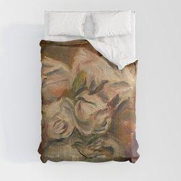 """Auguste Renoir """"Roses blanches dans un vase"""" Comforters"""