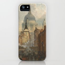 London skyline, view of St Paul's Cathedral and Fleet Street, illustration from Victorian era iPhone Case