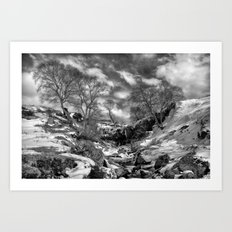Waterfall Snowfall Art Print
