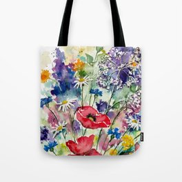 Spring Flowers Watercolour Tote Bag