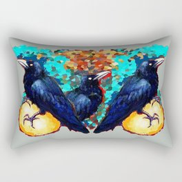 Three Blue-Black Raven-Crows with Eggs Grey Abstract  Rectangular Pillow