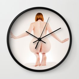 8614s-MM Perched on Her Toes Red Hair Model Megan Nude from Behind Wall Clock