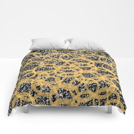 Abstract Beehive Yellow & Black Pattern Comforters
