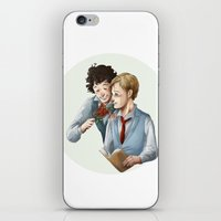 grantaire iPhone & iPod Skins featuring Grantaire et Combeferre by Sarlyne