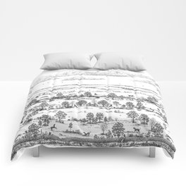 GREYHOUND TOILE LANDSCAPE  drawing Comforters
