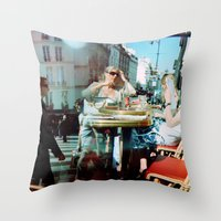arsenal Throw Pillows featuring Cafe Arsenal, Paris (Double Exposure) by istillshootfilm