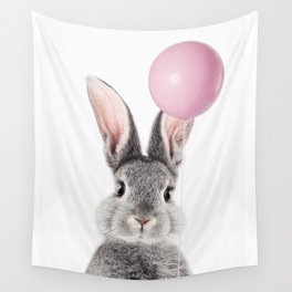 Bunny With Balloon Wall Tapestry