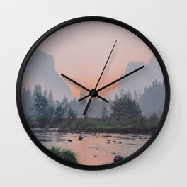 Yosemite Valley Sunrise Pretty Pink Wall Clock