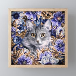 Cat in Flowers. Autumn Framed Mini Art Print