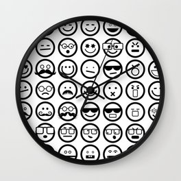 Black and White Emoticons Wall Clock