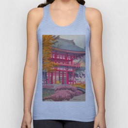 Japanese Woodblock Print Vintage Bright East Asian Red Pagoda Spring Garden Unisex Tank Top