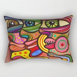 Abstract Folk Art People Painting Rectangular Pillow