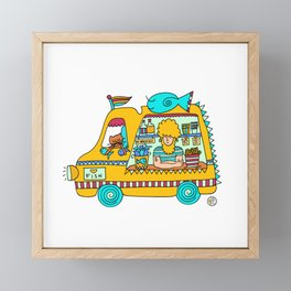 fish and chips food truck cool dude Framed Mini Art Print