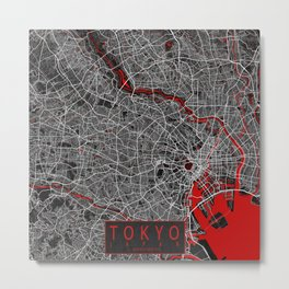 Tokyo City Map of Japan - Oriental Red Metal Print