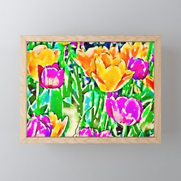 Pink and Yellow Tulips Framed Mini Art Print