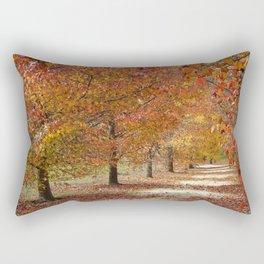 Sun Lit Tree Lined Avenue in Autumn Rectangular Pillow