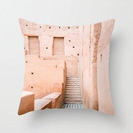 Colors of Marrakech Morocco - El badi palace photo print | Pastel travel photography art Throw Pillow