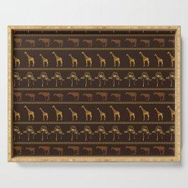 Giraffe & Okapi Print Pattern ~ EARTHY GOLDS PALETTE Serving Tray