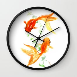 Goldfish, Feng Shui Asian Watercolor Wall Clock