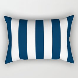 Oxford blue - solid color - white vertical lines pattern Rectangular Pillow