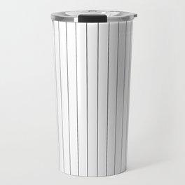 White Black Pinstripes Minimalist Travel Mug