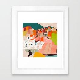 italy coast houses minimal abstract painting Framed Art Print