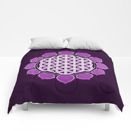 Purple Flower Of Live Lotus Comforters