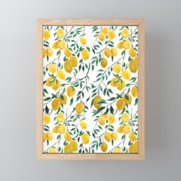 watercoor yellow lemon pattern Framed Mini Art Print