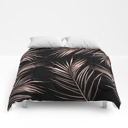 Rosegold Palm Tree Leaves on Midnight Black Comforters