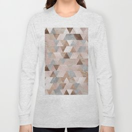 Copper and Blush Rose Gold Marble Triangles Long Sleeve T-shirt