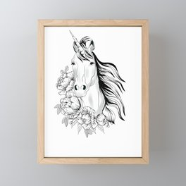 Unicorn,black and white floral illustration Framed Mini Art Print