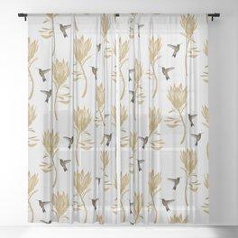Hummingbird & Flower I Sheer Curtain