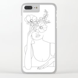 Minimal Line Art Woman with Flowers II Clear iPhone Case
