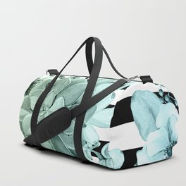 Succulents in the Garden Teal Blue Green Gradient with Black Stripes Duffle Bag