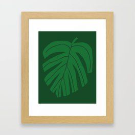 Green Monstera Leaf Framed Art Print