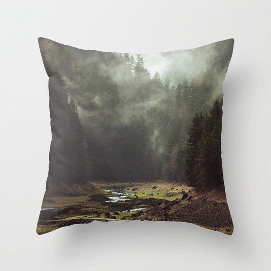 Foggy Forest Creek Throw Pillow