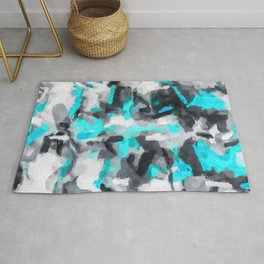 splash painting texture abstract background in blue and black Rug