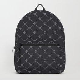 Gray Skulls on Dark Background Pattern Backpack