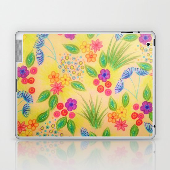 WILDFLOWER FANCY 1 - Cheerful Yellow Lovely Floral Garden Pattern Girly Feminine Trendy Flowers Laptop & iPad Skin