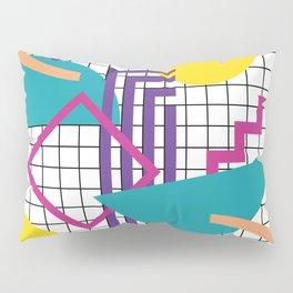 Memphis Pattern - 80s Retro White Pillow Sham