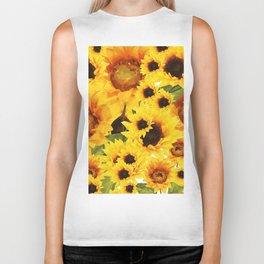 Wild yellow Sunflower Field Illustration Biker Tank